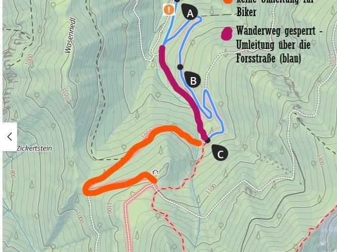 Ab 27. Sep: Kurzer Umweg für Wanderer – Totalsperre für Biker